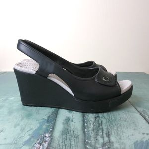 Crocs Black Havana Sling Back Open Toe Wedge Heels